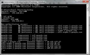 Obtaining MX record using nslookup