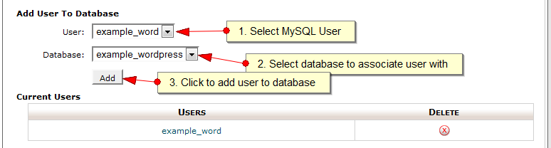 Add MySQL user to MySQL Database