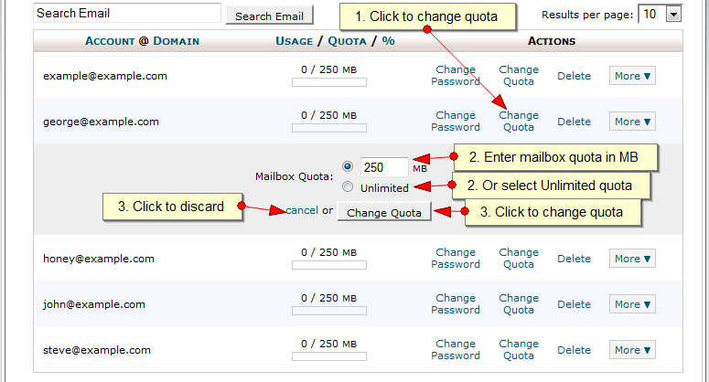 Change mailbox quota in CPanel