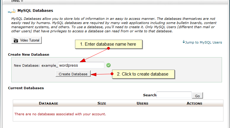 Create MySQL Database in CPanel - Step 2