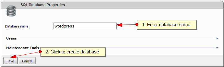 Create MySQL Database with WebsitePanel - Step 3