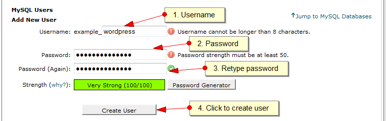 Create MySQL User with CPanel