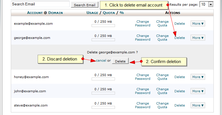 Delete an email account in CPanel