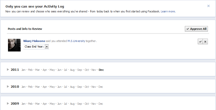 Facebook Timeline feature :: Activity Log Detailed