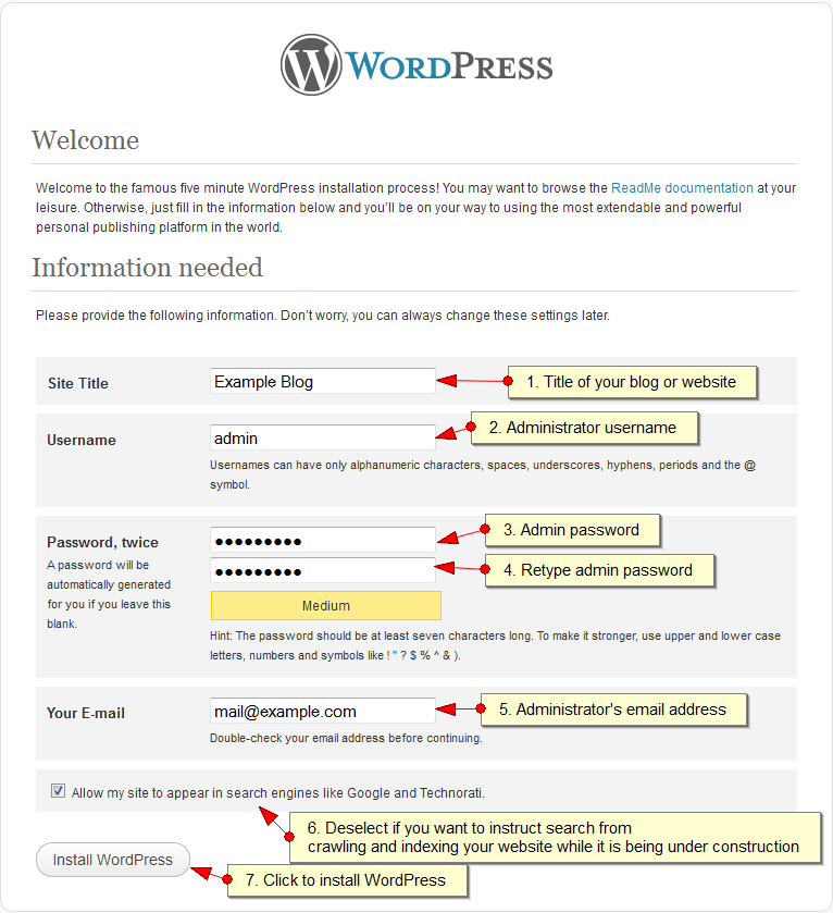 Installing WordPress Step - 1