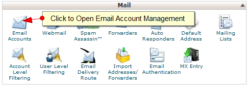 Managing email accounts in CPanel - Step 1