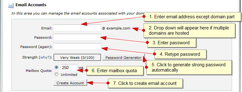 Managing Email accounts in CPanel - Step 2