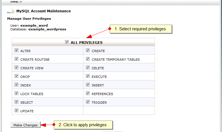 MySQL User privileges with CPanel