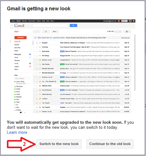 Switch GMail to new  look step 2