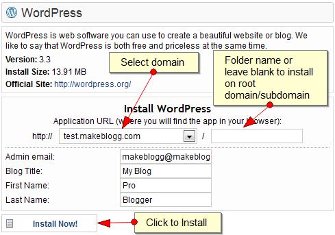 Wordpress Installer - 3 : Hostgator