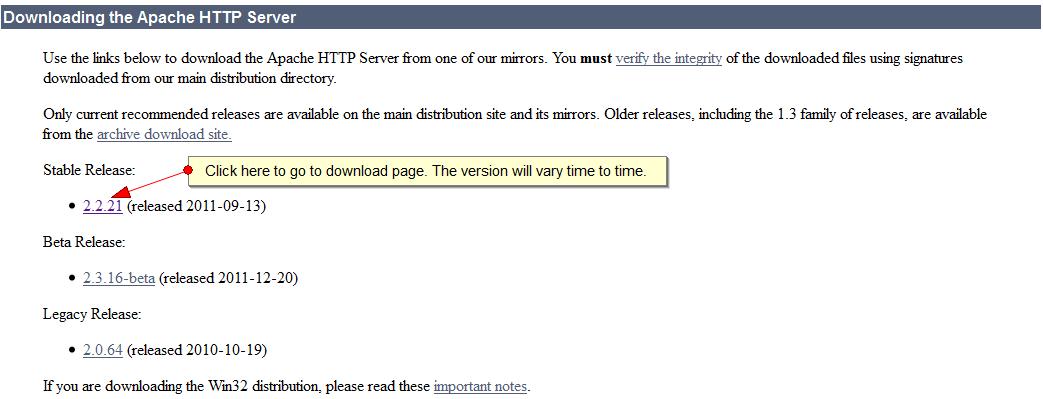 Downloading Apache Web Server - 1