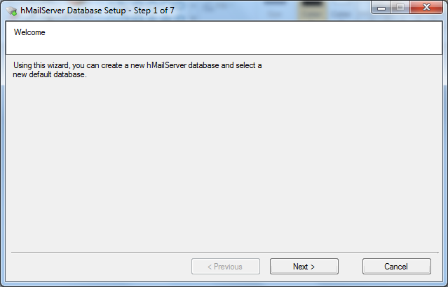 Install hMailServer database setup wizard step - 1
