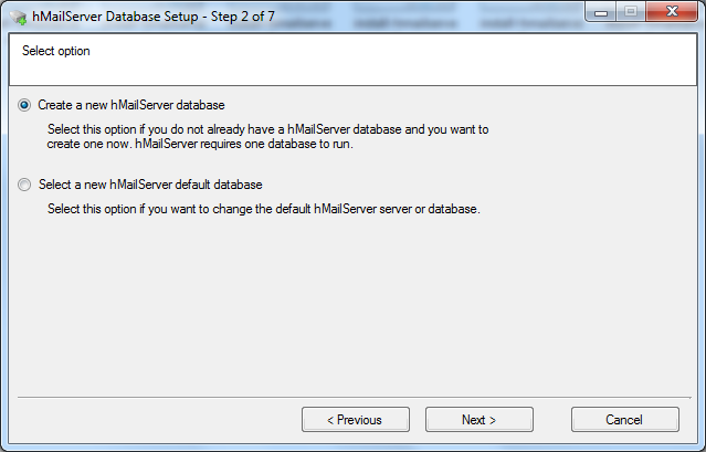 Install hMailServer database setup wizard step - 2