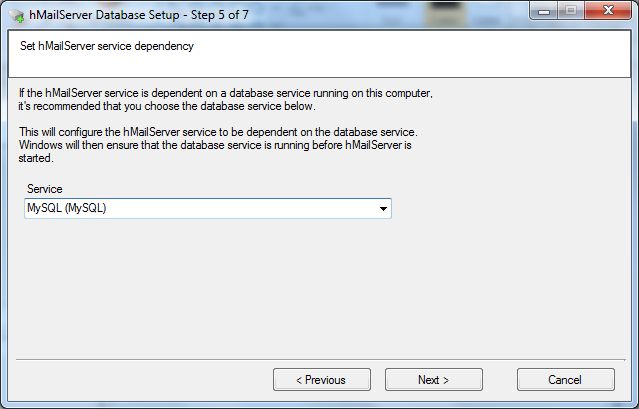 Install hMailServer database setup wizard step - 5