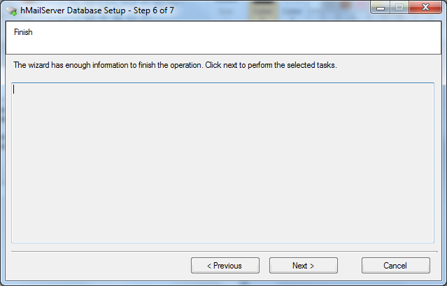 Install hMailServer database setup wizard step - 6