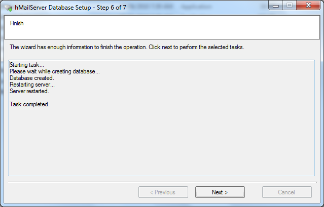 Install hMailServer database setup wizard step - 7