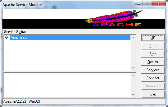 Start/Stop/Restart Apache Web Server using Apache Service Monitor