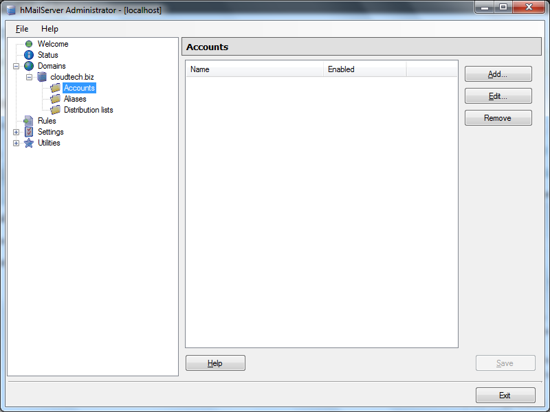 Create email account in hMailServer - 1