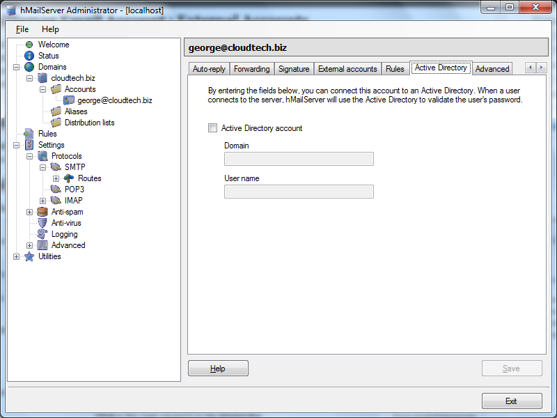 Create email account in hMailServer : Active Directory