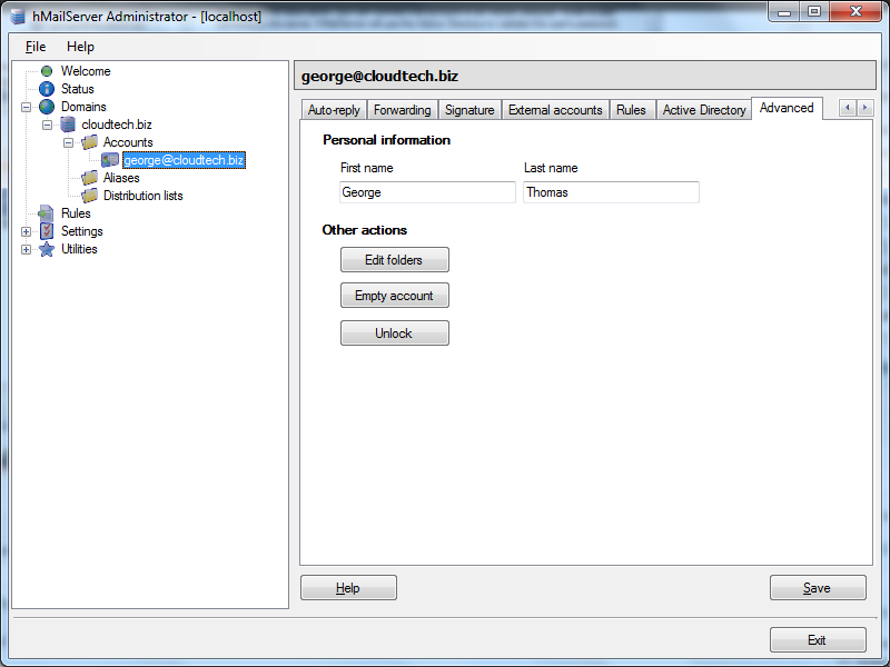 Create email account in hMailServer : Advanced
