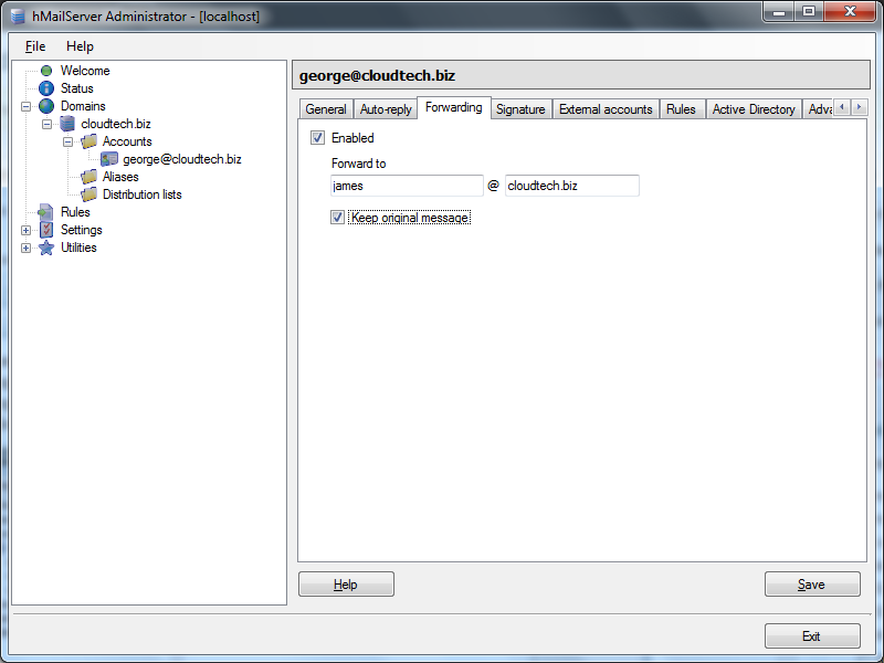 Create email account in hMailServer : Forwarding