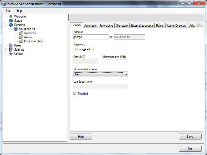 Create email account in hMailServer : General