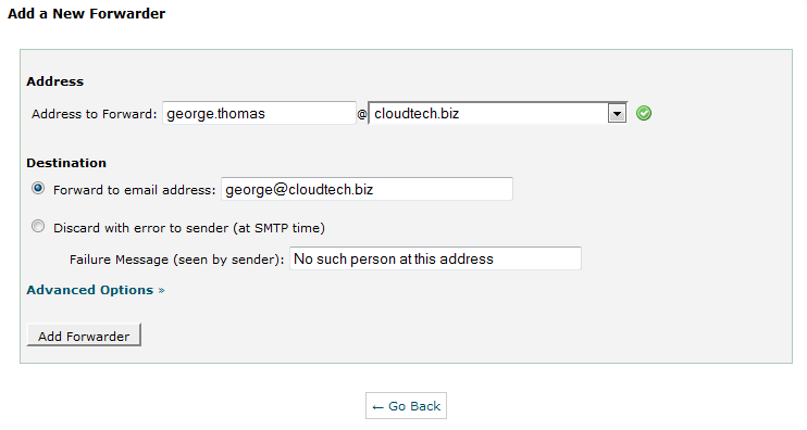 Create forwarder in CPanel - 2