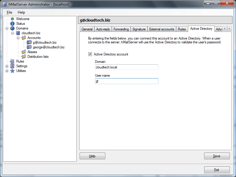Enable hMailServer and Active Directory Integration
