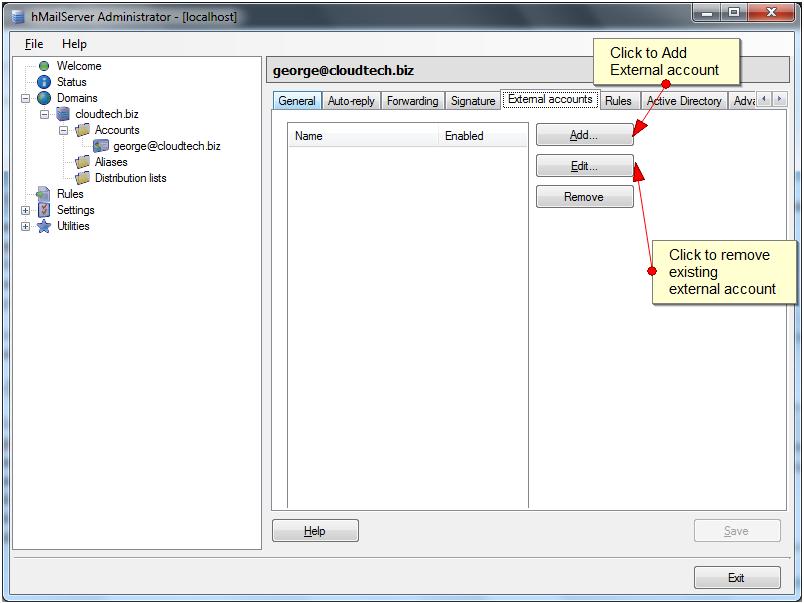 hMailServer External Accounts - 1