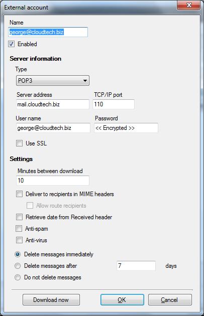 hMailServer External Accounts - 2