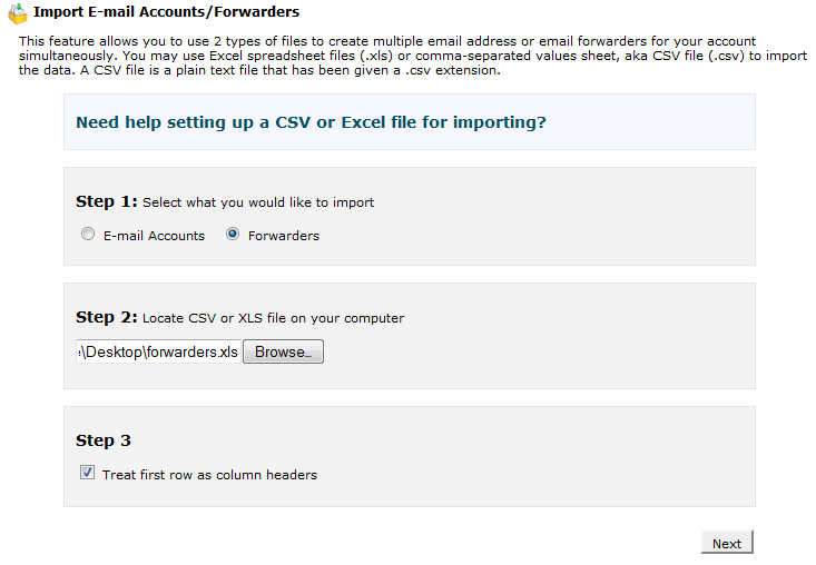 Import Forwarders in CPanel - 1