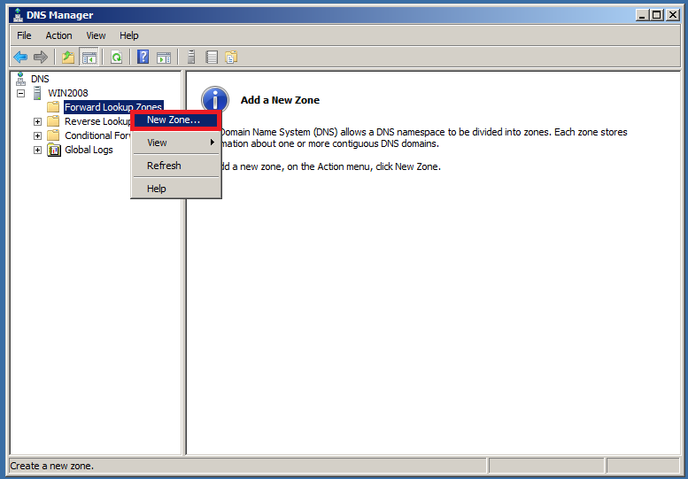 Configure DNS Server in Windows Server 2008 - Step 1