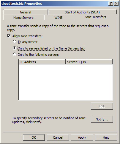 Configure DNS Server in Windows Server 2008 - Zone Transfers