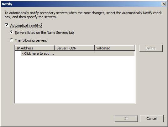 Configure DNS Server in Windows Server 2008 - Zone updates notify