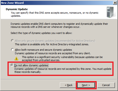 Configure DNS Server in Windows Server 2008 : Dynamic Update