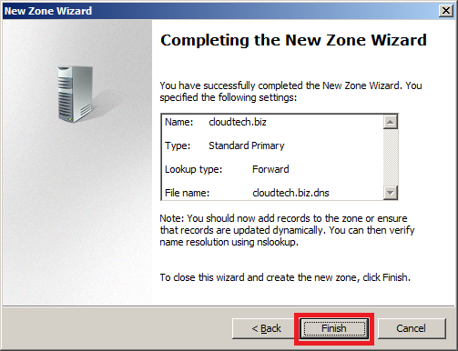 Configure DNS Server in Windows Server 2008 - Zone Created