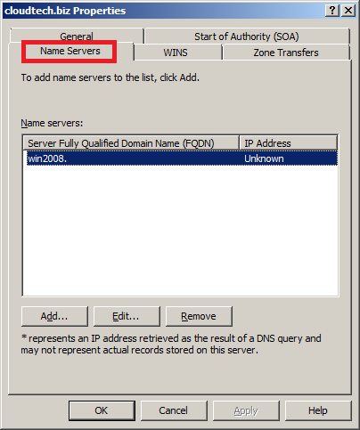 Configure DNS Server in Windows Server 2008 - Name Servers