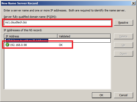 Configure DNS Server in Windows Server 2008 - New Name Server 1