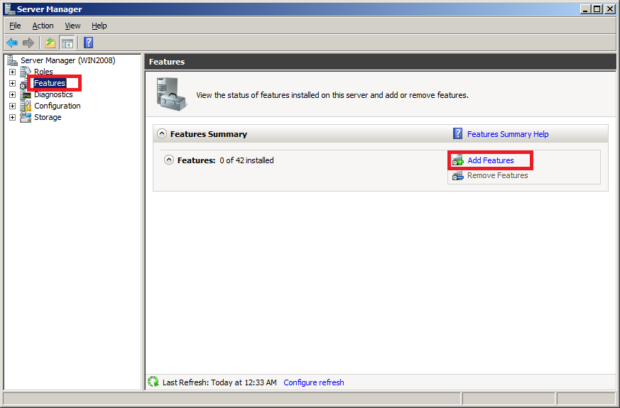 Enable Telnet client on Windows Server 2008 - Step 1
