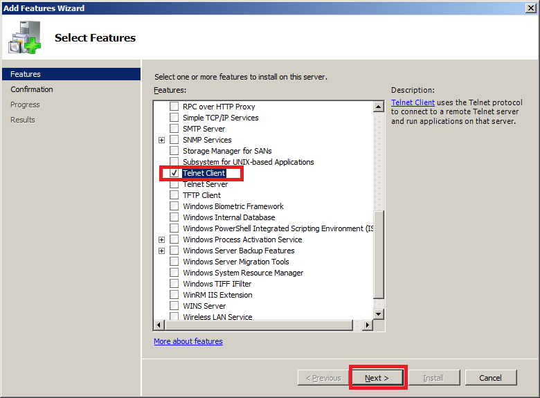 Enable Telnet client on Windows Server 2008 - Step 2