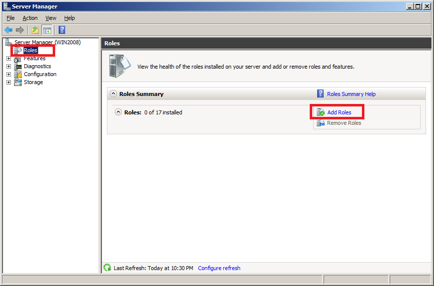 Install DNS Server in Windows Server 2008 - Step 1