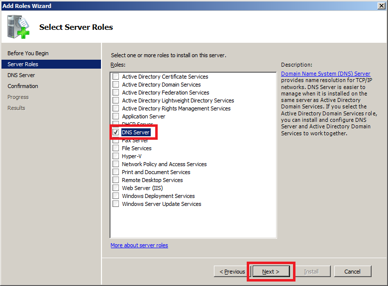 Install DNS Server in Windows Server 2008 - Step 2