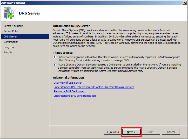 Install DNS Server in Windows Server 2008 - Step 3