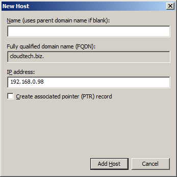 Create Host (A or AAAA) DNS resource record
