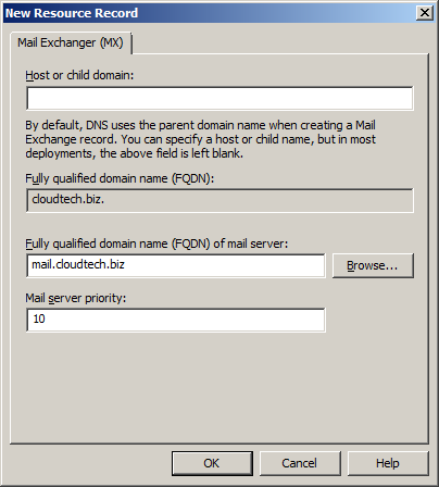 Create Mail Exchanger (MX) DNS resource record