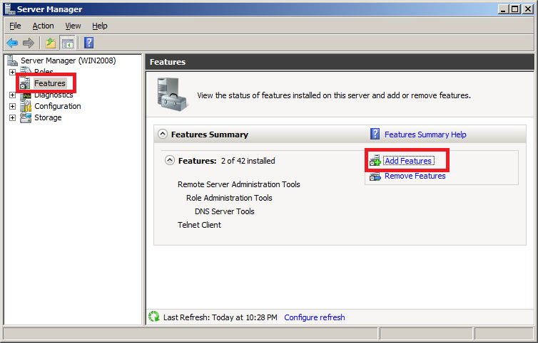 Install Wireless LAN Service in Windows Server 2008 - Server Manager