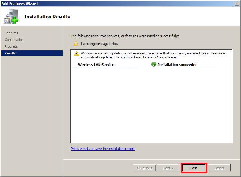 Install Wireless LAN Service in Windows Server 2008 - Close Wizard