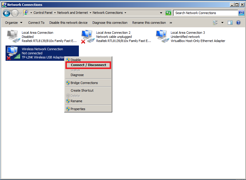 Install Wireless LAN Service in Windows Server 2008 - Connect/Disconnect Wireless Network
