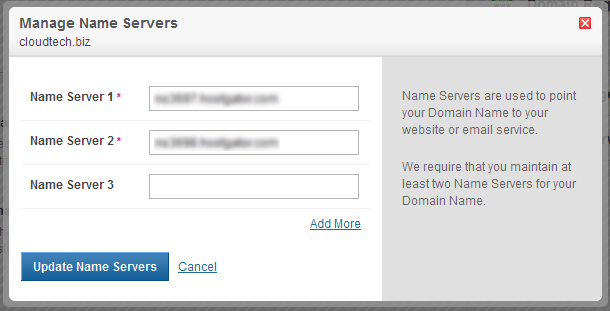 Update Name Servers at Domain Name Registrar