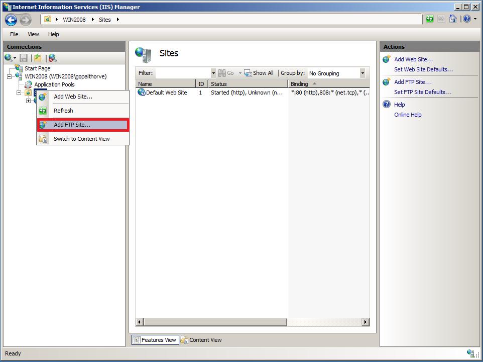 Setup FTP Server : Create FTP Site